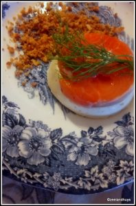 Salmon-goat cheese-pine kernel mousse